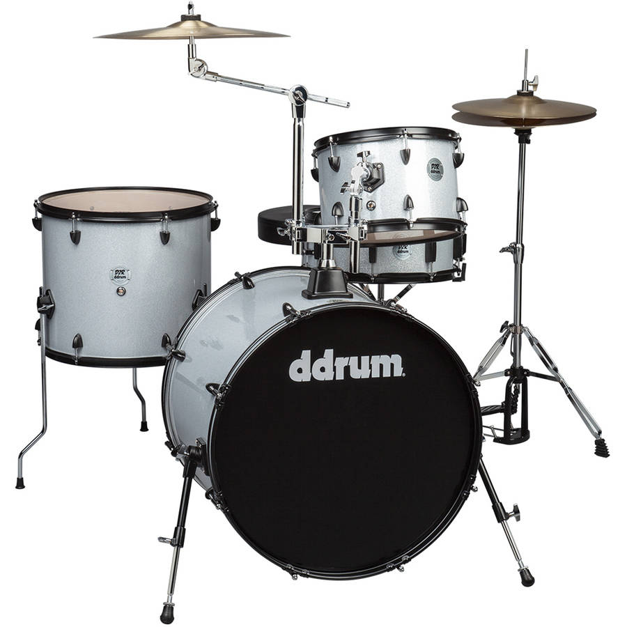 ddrum D2 Rock 4-Piece Complete Drumset w  Cymbals Silver Sparkle by Armadillo