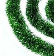 "Northlight 50' x 2.5"" Unlit Green Tinsel Christmas Garland"