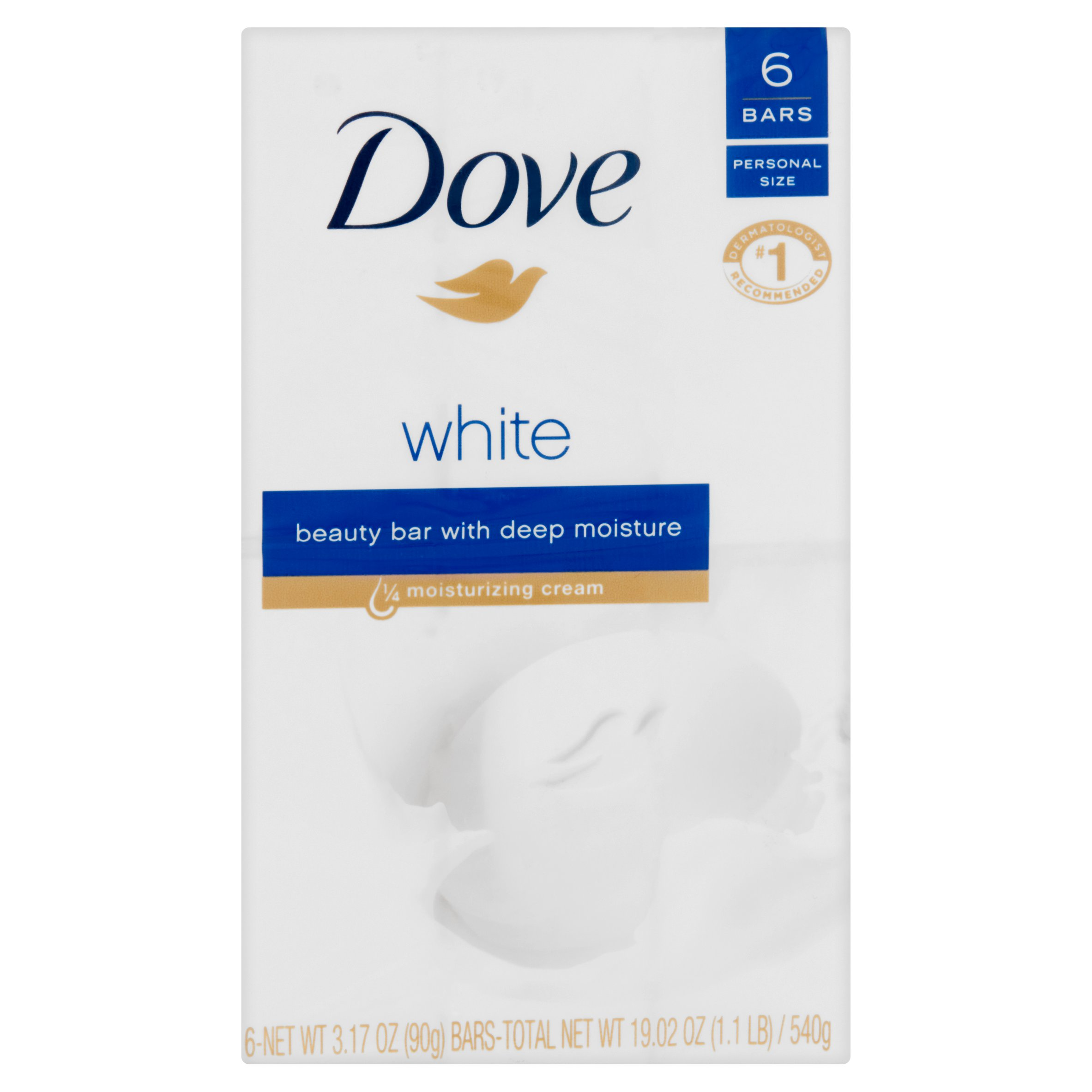Dove White Beauty Bar with 1/4 Moisturizing Cream 3.15 oz, 6 bar