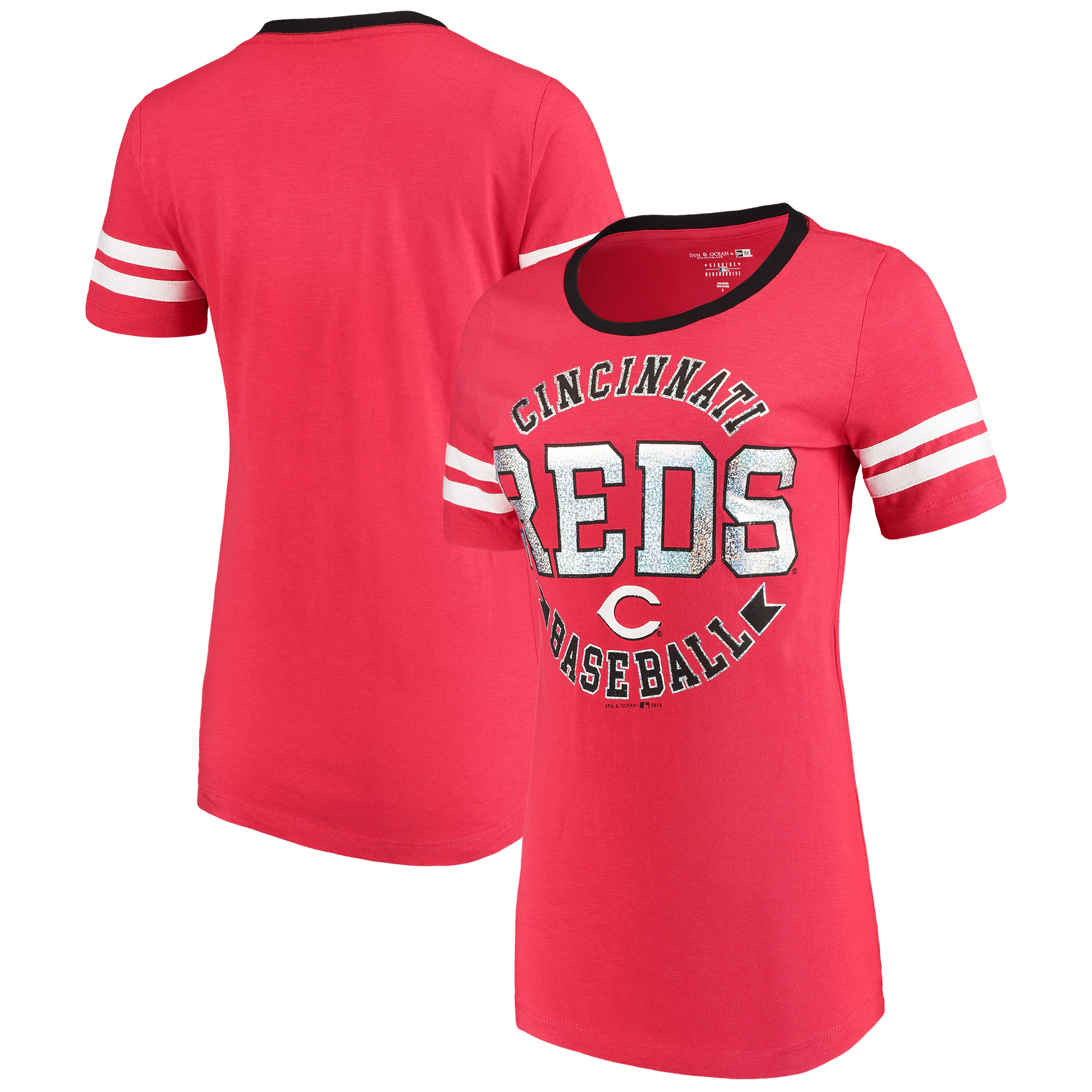 Cincinnati Reds 5th & Ocean by New Era Women's Slub Jersey Scoop Neck Sleeve Stripes T-Shirt - Red