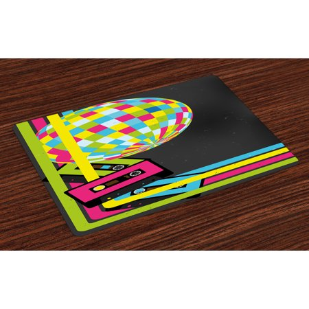 Popstar Party Placemats Set of 4 Retro Party Theme Disco Ball 80's Style Audio Cassette Tapes Colorful Stripes, Washable Fabric Place Mats for Dining Room Kitchen Table Decor,Multicolor, by Ambesonne