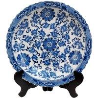 "Oriental Furniture 14"" Floral Blue & White Porcelain Plate, decorative item, end table item, living space"
