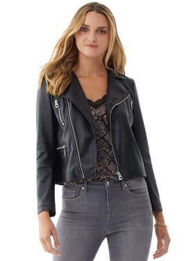 Scoop Vegan Faux Leather Moto Jacket Women's