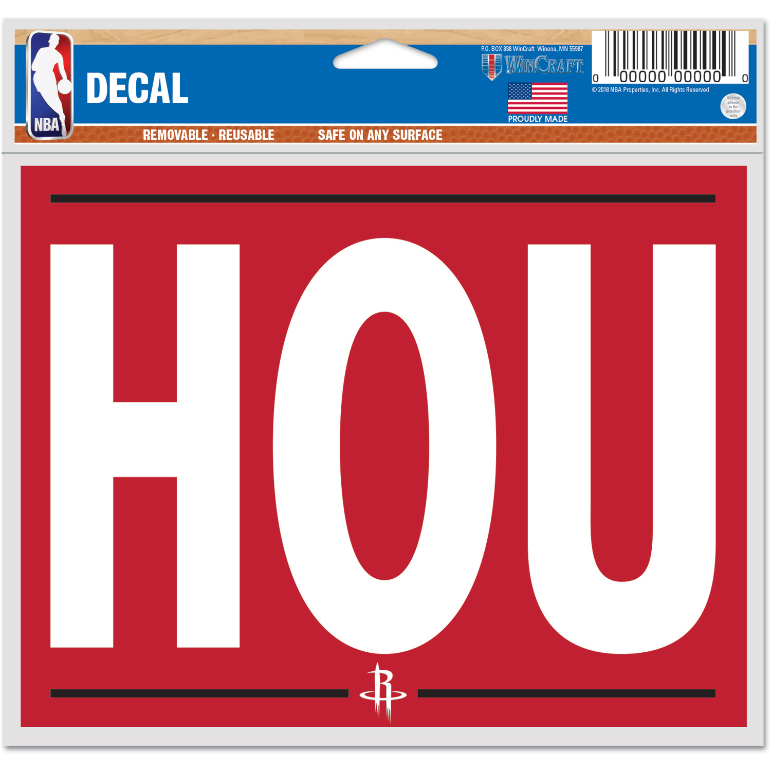 """Houston Rockets WinCraft 4"""" x 6"""" Local Edition Multi-Use Decal - No Size"""