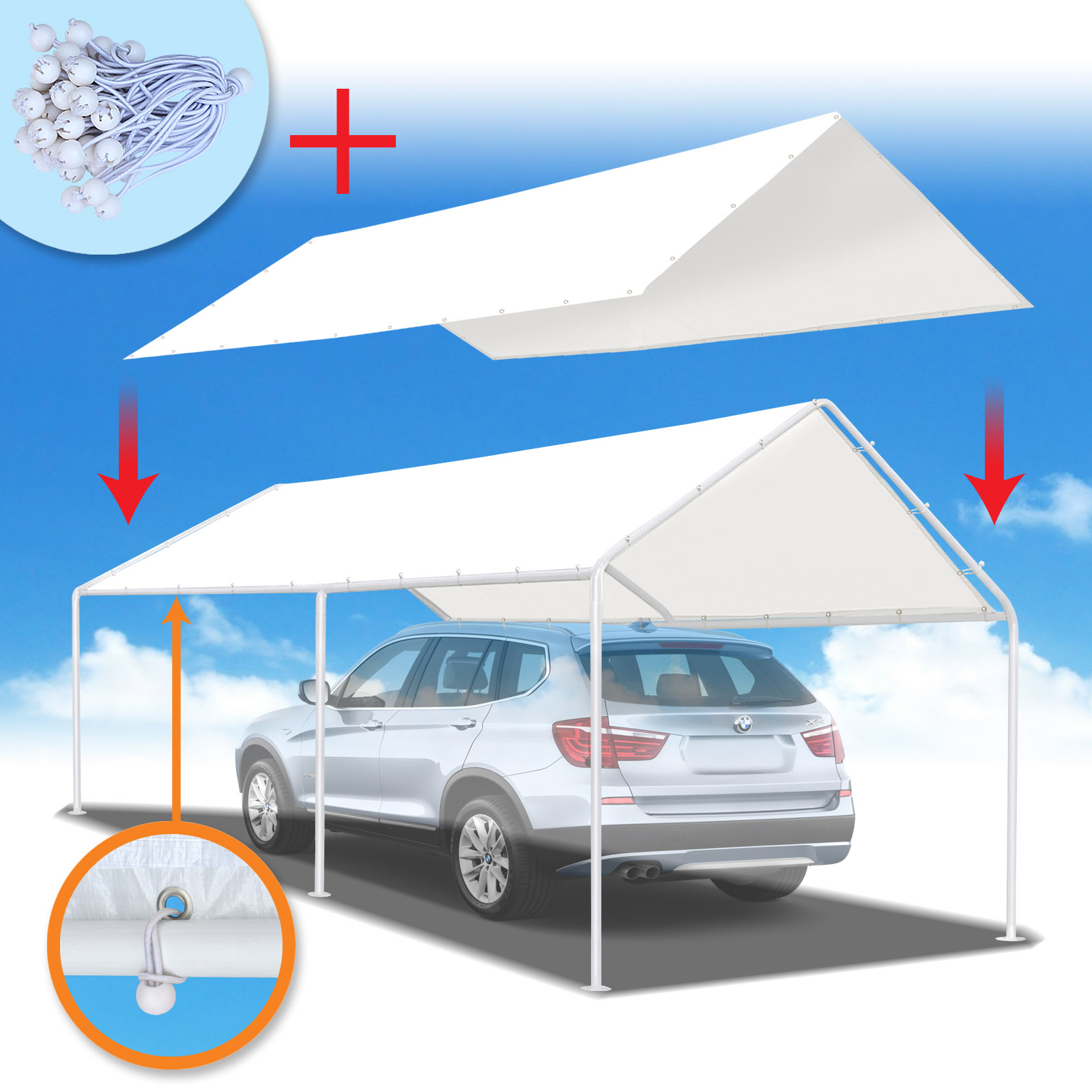 Strong Camel New 10'x20' Canopy for Carport Tent Garage Tarp Top Shelter Cover w Ball Bungees (Only cover, Frame is not included )