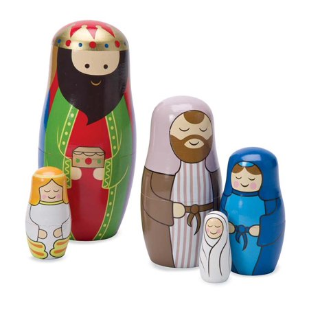 Nativity Matryoshka Nesting Dolls, Set of 5 Colorful Dolls