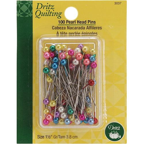 """Dritz Quilting Pearl Head Pins, 1-1/2"""", 100/pkg"""