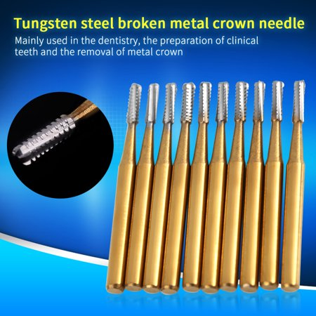 Yosoo 10pcs /set High Speed Dental Tungsten Burs Steel Crown Metal Cutting Burs ()