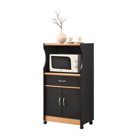 Hodedah Microwave Kitchen Cart, Multiple Colors Contemporary and functional, this Hodedah Microwave Cart is the perfect solution for your kitchen storage needs. The large open storage space at the center houses your microwave. The top shelf can be used to store your toaster oven. It has an enclosed cabinet space which provides compact kitchen storage for small kitchen appliances, pots and pans. It features a drawer for utensil storage. This microwave cart features wheels, which allows for easy mobility if necessary. It is made of wood, which ensures strength and durability.