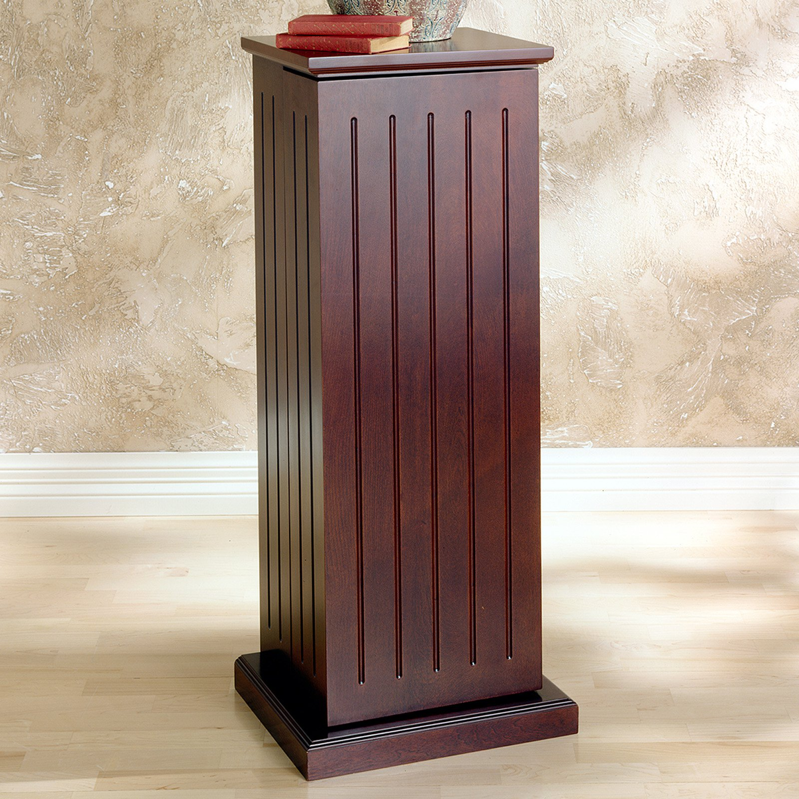 Media Storage Pedestal Dark Cherry Adjustable Shelves Hidden Storage