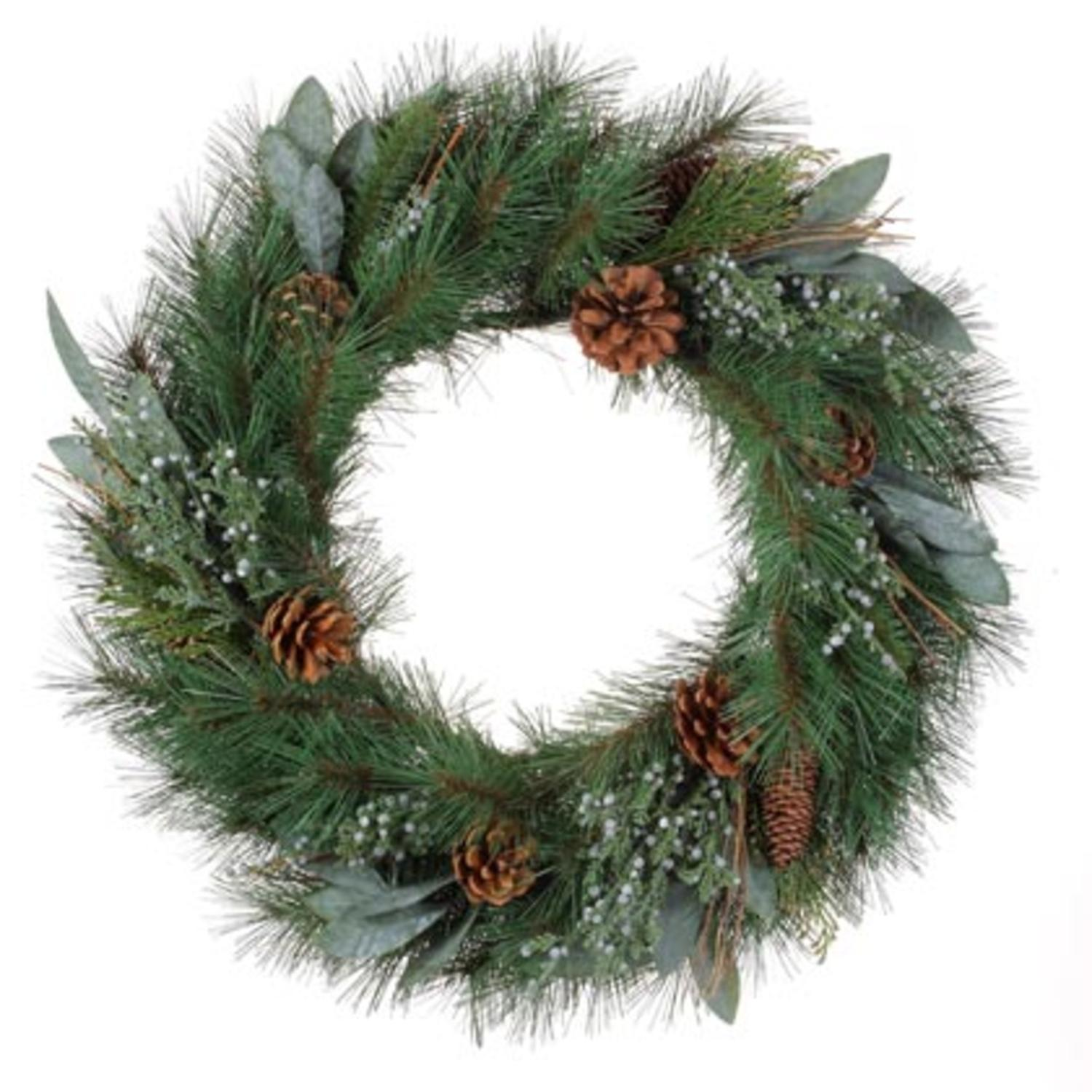"24"" Artificial Pine and Juniper Decorative Christmas Wreath- Unlit"