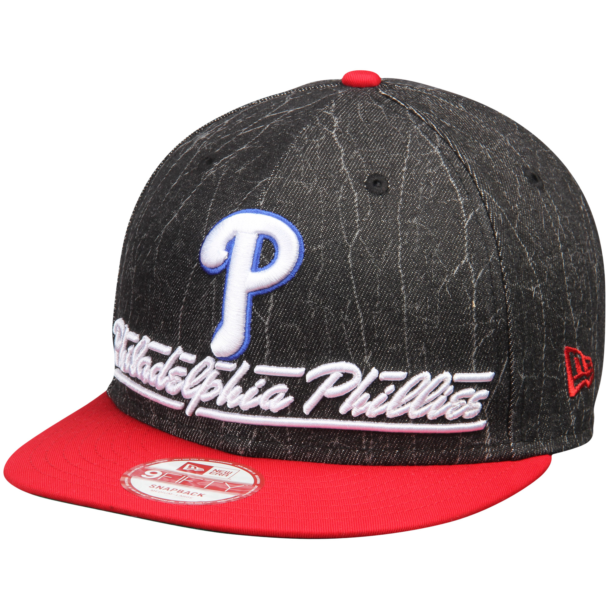 Philadelphia Phillies New Era Lightning Strike 9FIFTY Snapback Adjustable Hat - Black/Red - M/L