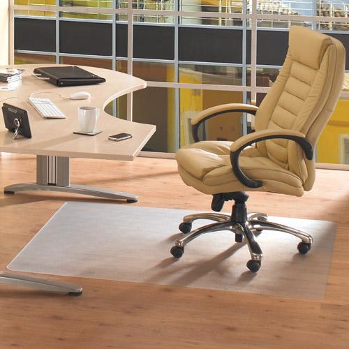 "Floortex Cleartex Advantagemat PVC Rectangular Chairmat for Low Pile Carpets 1/4"" or less, 48"" X 79"", Clear"