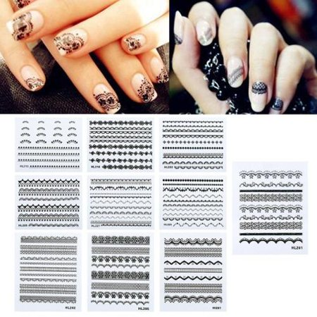 Zodaca Lacy Designed Nail Art Stickers Decorations Nail Stickers 10 Sheet Manicure DIY - Black/Green [2.6x2.2]