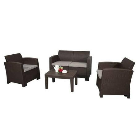 ALEKO Deluxe Lancaster Rattan Wicker Furniture 4-Piece Indoor Outdoor Coffee Table Set - Brown ()