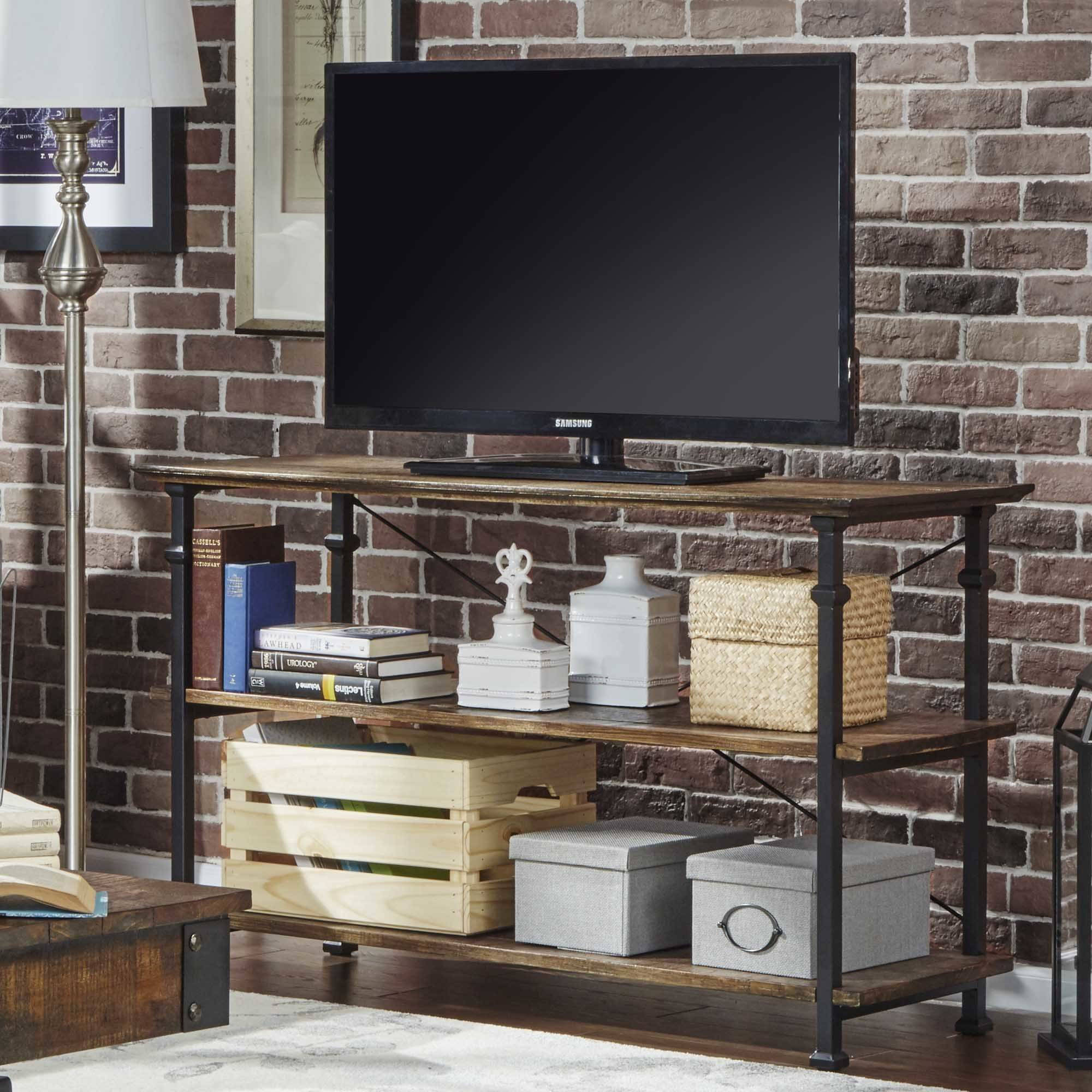 Weston Home Rustic Elegant Detailed Leg Storage Sofa Table TV Stand, Multiple Colors