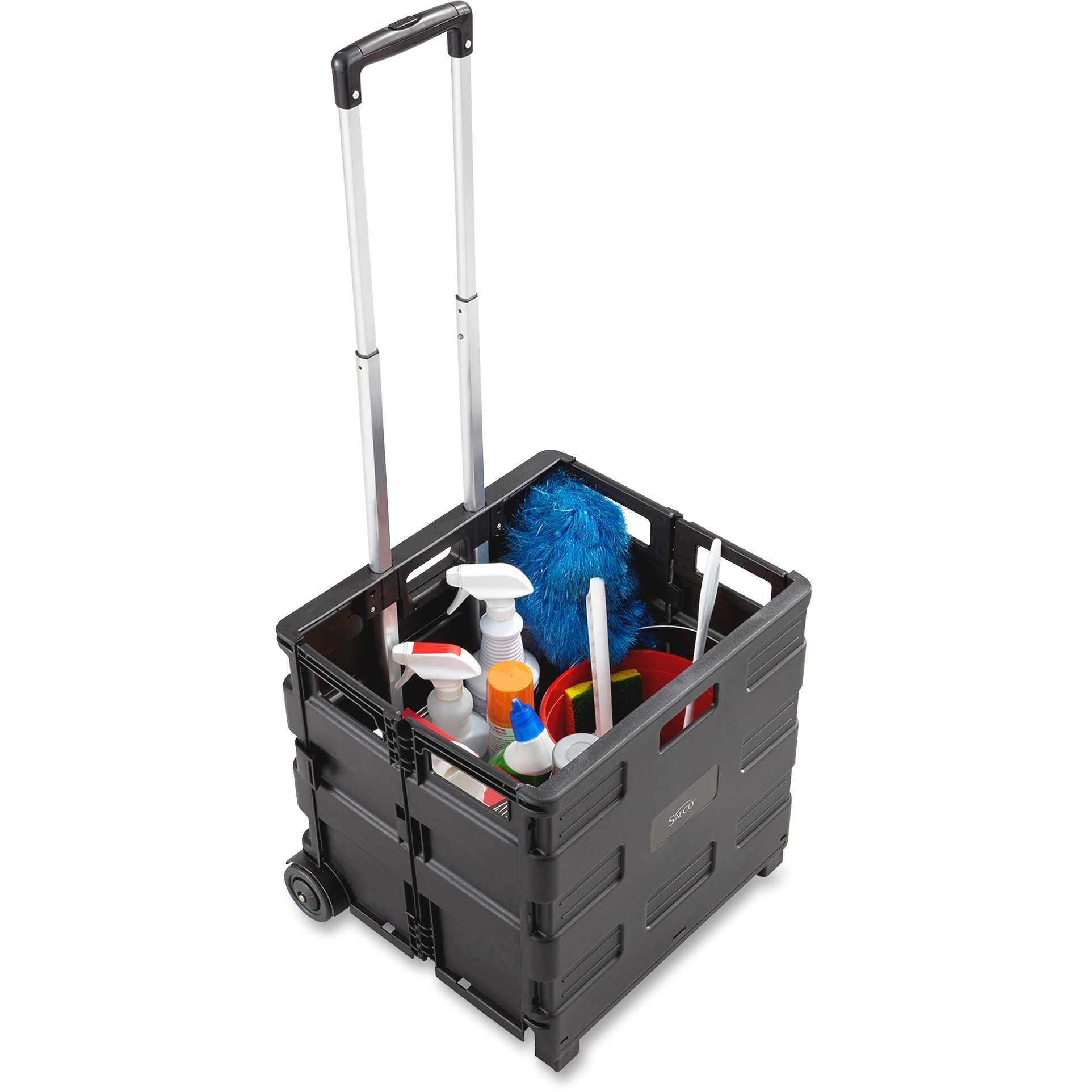 Safco, SAF4054BL, Stow Away Folding Caddy, 1 Each, Black,Silver