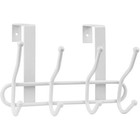 Greenco Steel Quad Over the Door Hook (4 Hooks, White) (Steel Reversible Over Door Hook)
