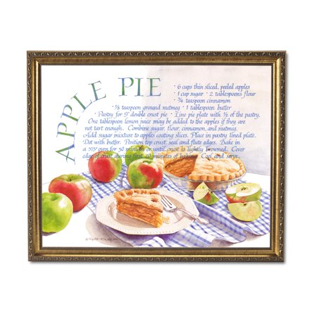 Kitchen Recipe Apple Pie Cafe Diner Wall Picture Gold Framed Art Print