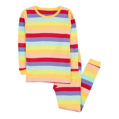 Leveret Striped Kids & Toddler Girls Pajamas 2 Piece Pjs Set 100% Cotton (Size 12-18 Months, Colorful)