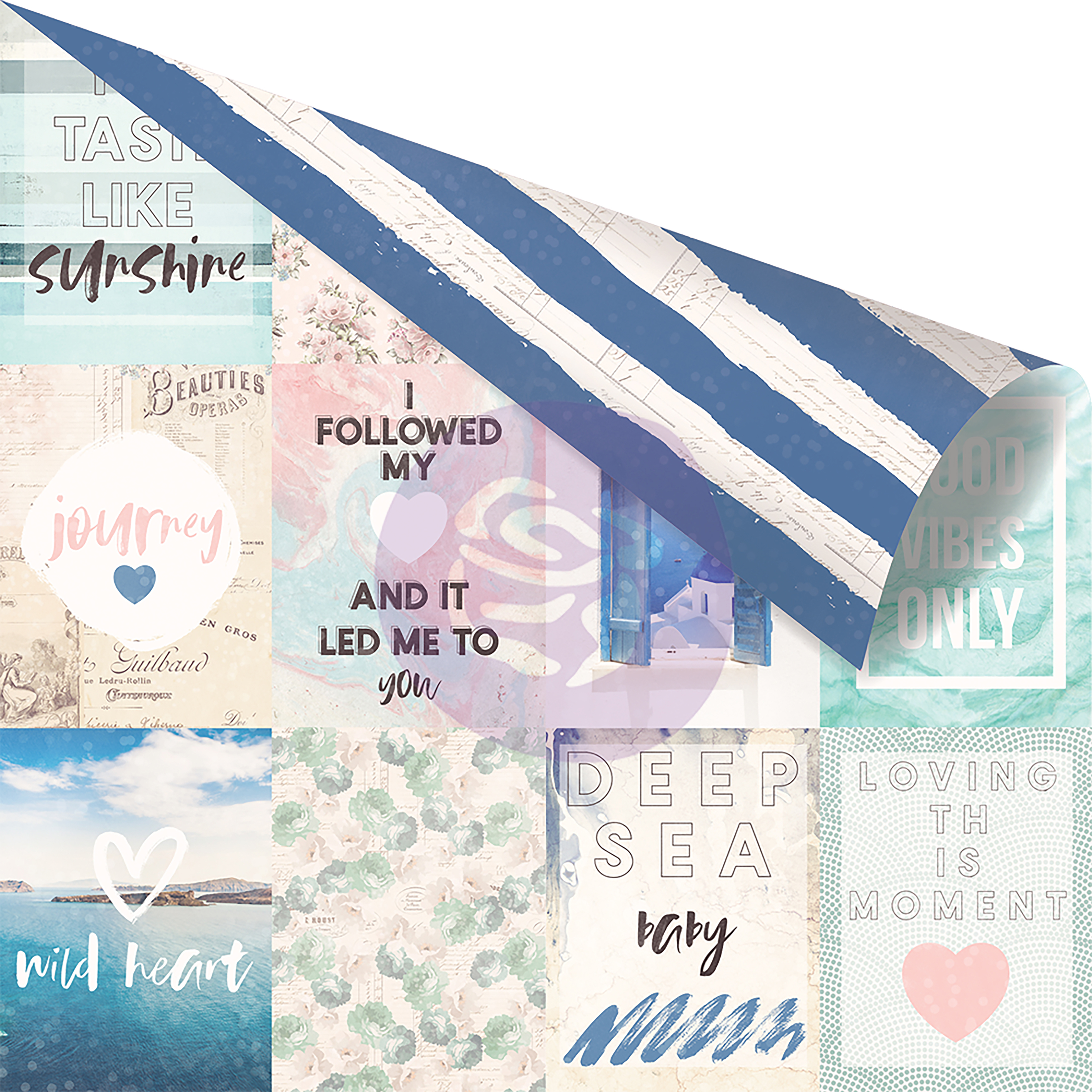 "Santorini Aqua Foiled Double-Sided Cardstock 12""X12""-Santorini Moments - image 1 de 1"