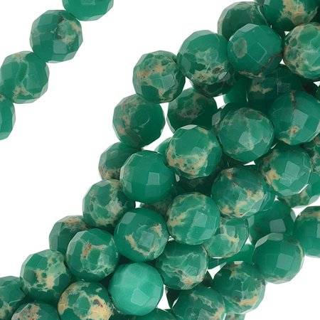 Impression Jasper Gemstone, Faceted Round Beads 6mm, 16 Inch Strand, Teal Green