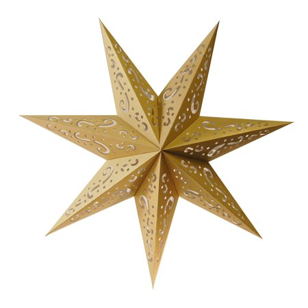 "Pack of 3 Hanging Gold 7 Point Star Paper Lanterns with Swirl Design 16"" - Paper Star Lanterns"
