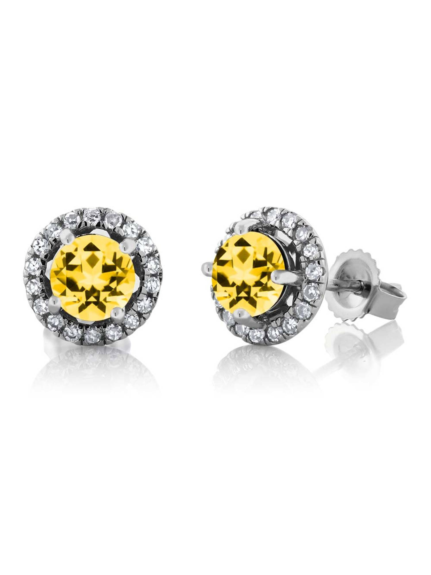 14K White Gold Diamond Earrings Set with Round Honey Topaz from Swarovski by