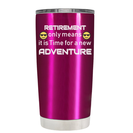 TREK Pink Translucent 20 oz - Retirement Only Means it is Time for a New Adventure Tumbler - Halloween Transparents Tumblr