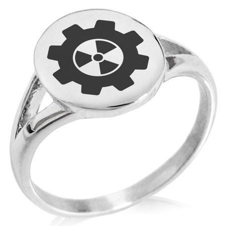 Stainless Steel Radioactive Gear Minimalist Oval Top Polished Statement Signet Ring