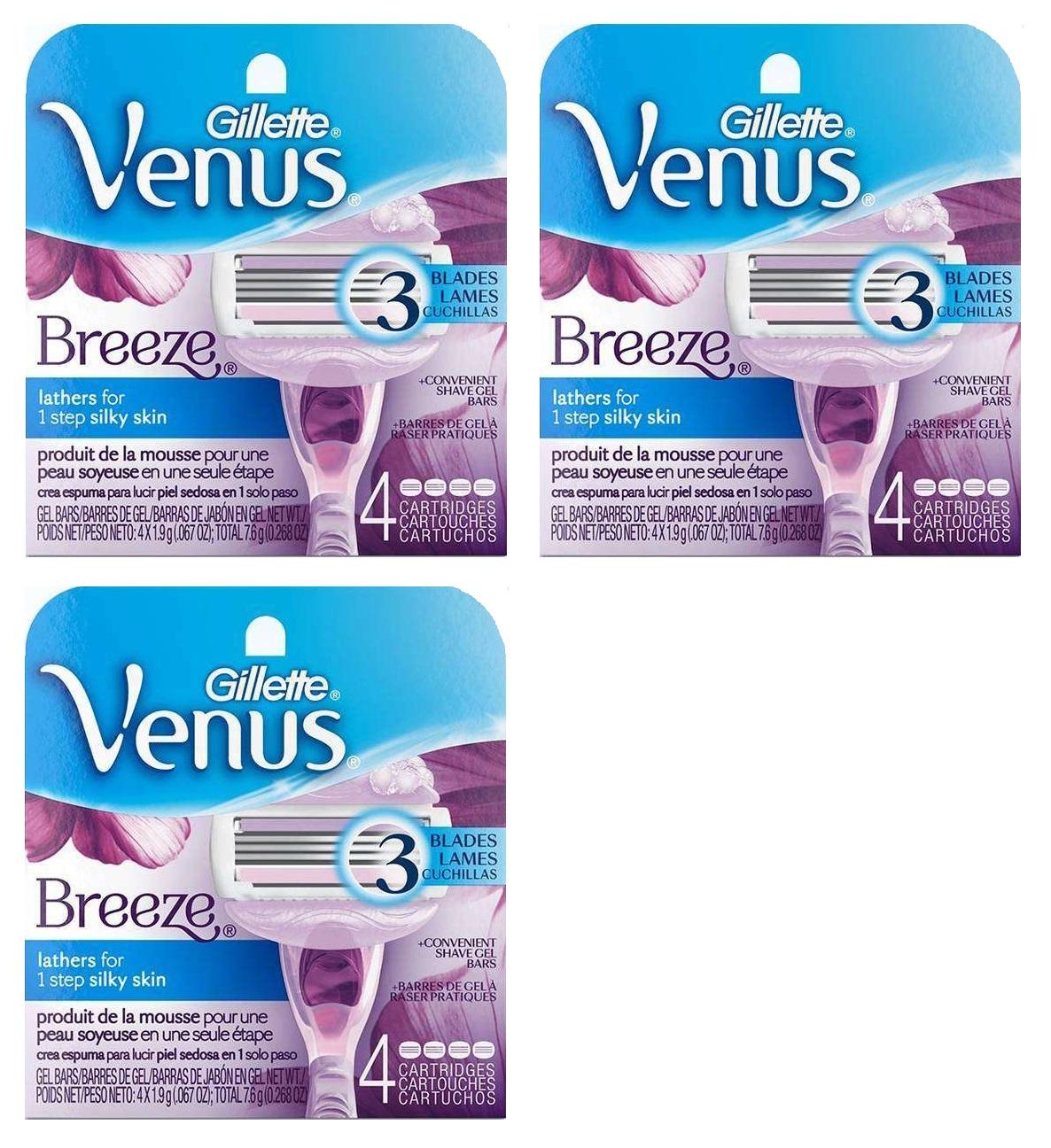 Gillette Venus Breeze Refill Razor Blade Cartridges, 12 Count (3 Packs of 4 Ct)