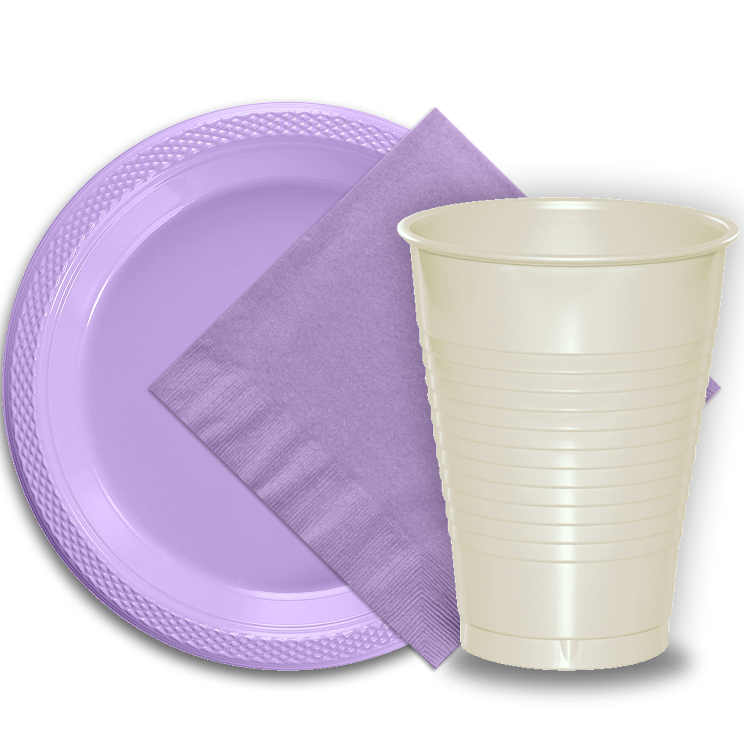 """50 Lavender Plastic Plates (9""""), 50 Ivory Plastic Cups (12 oz.), and 50 Lavender Paper Napkins, Dazzelling Colored Disposable Party Supplies Tableware Set for Fifty Guests."""