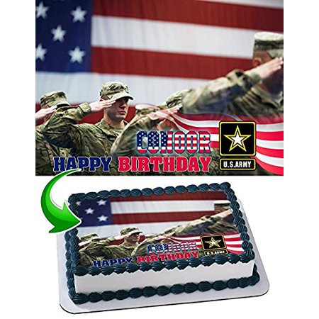 U.S. Army Edible Cake Topper Personalized Birthday 1/4 Sheet Decoration Custom Sheet Party Birthday Sugar Frosting Transfer Fondant Image Edible Image for cake