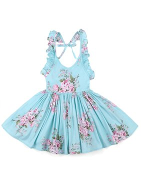 a2cad1220ae9 Product Image StylesILove Girl Princess Summer Vintage Flower Print Ruffles  Backless Cotton Dress (12-18 Months