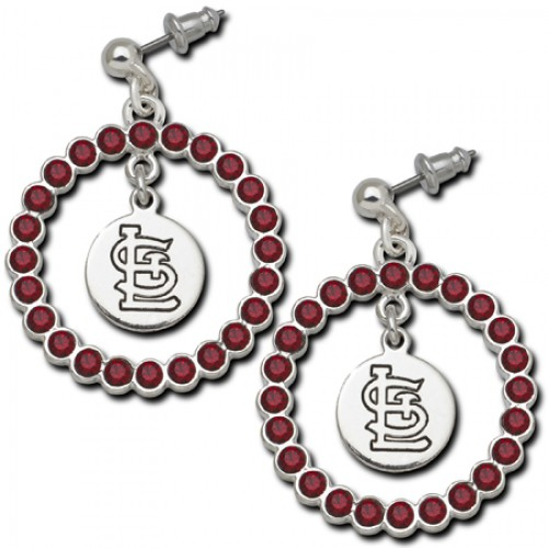 St Louis Cardinals Earrings - Cardinals Team Logo Earrings w/ Red Crystals