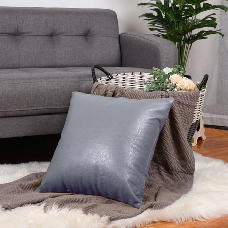 Faux Leather Pillow Covers, Decorative Throw Cushion Covers for Couch Sofa Bed, 18