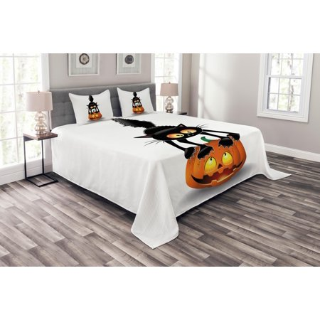 Halloween Bedspread Set, Black Cat on Pumpkin Drawing Spooky Cartoon Characters Halloween Humor Art, Decorative Quilted Coverlet Set with Pillow Shams Included, Orange Black, by Ambesonne (Halloween Pumpkins Black Cat)