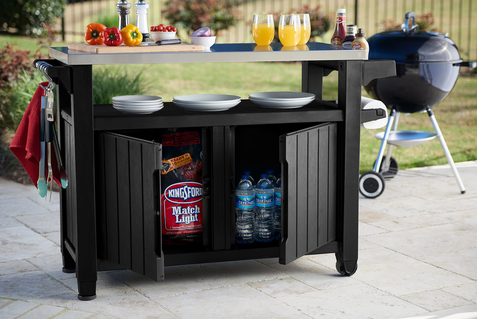 Keter Unity Xl Resin Serving Station All Weather Plastic And Metal Grill Storage Prep Table Graphite