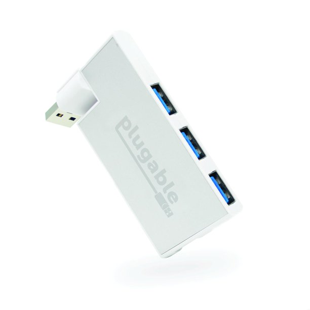 Plugable USB Hub, Rotating 4 Port USB 3.0 Hub, Powered USB Hub (Compatible with Windows, macOS & Linux, USB 2.0 Backwards Compatible)