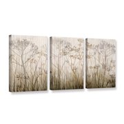 'Wildflowers Ivory' 3 Piece Gallery Wrapped Canvas Art Print Set, 24x48
