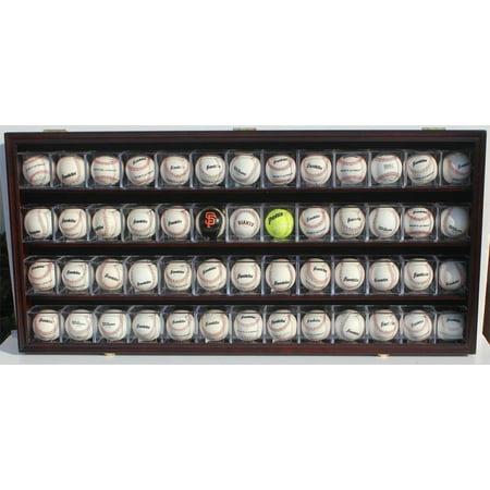 Baseball CUBES Display Case Wall Shadow Box Cabinet, UV Protection, Lock, B-HW14 (Mahogany -