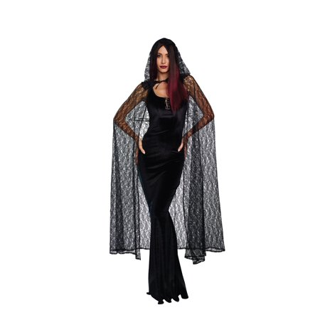 Dreamgirl Women's Dramatic Costume Lace Cape with Hood - Black Cape Hood