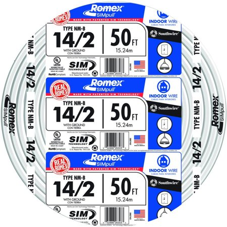 2 Adjustable White Wire (Southwire 28827422 50' 14/2 with ground Romex brand SIMpull residential indoor electrical wire type NM-B White)