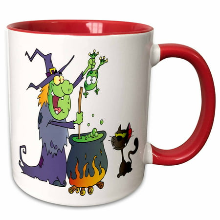 3dRose Halloween Witch and Cauldron - Two Tone Red Mug, 11-ounce](Cauldron Witch)