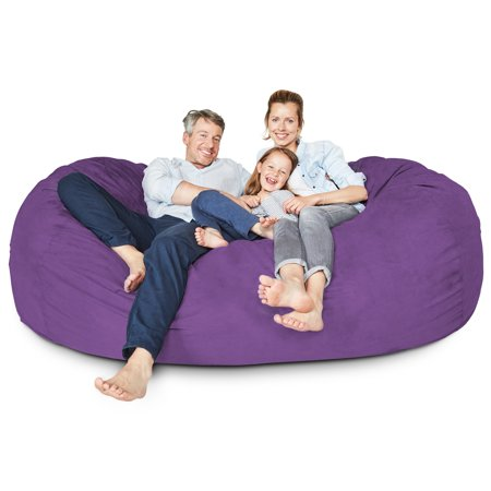 Enjoyable Lumaland Luxury 7 Foot Bean Bag Chair With Microsuede Cover Purple Machine Washable Big Size Sofa And Giant Lounger Furniture For Kids Teens And Machost Co Dining Chair Design Ideas Machostcouk