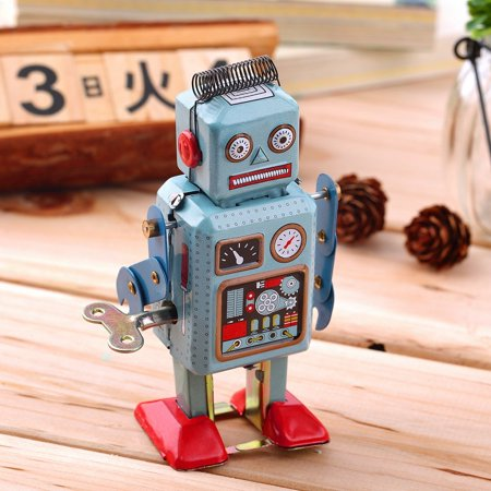Vintage Mechanical Clockwork Wind Up Metal Walking Robot Tin Toy Kids - Mechanical Toys
