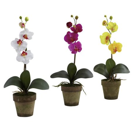 Nearly Natural 4065-AS-S3 Potted Phalaenopsis, Multicolored/White/Lavender/Yellow, Set of 3 - image 4 of 4
