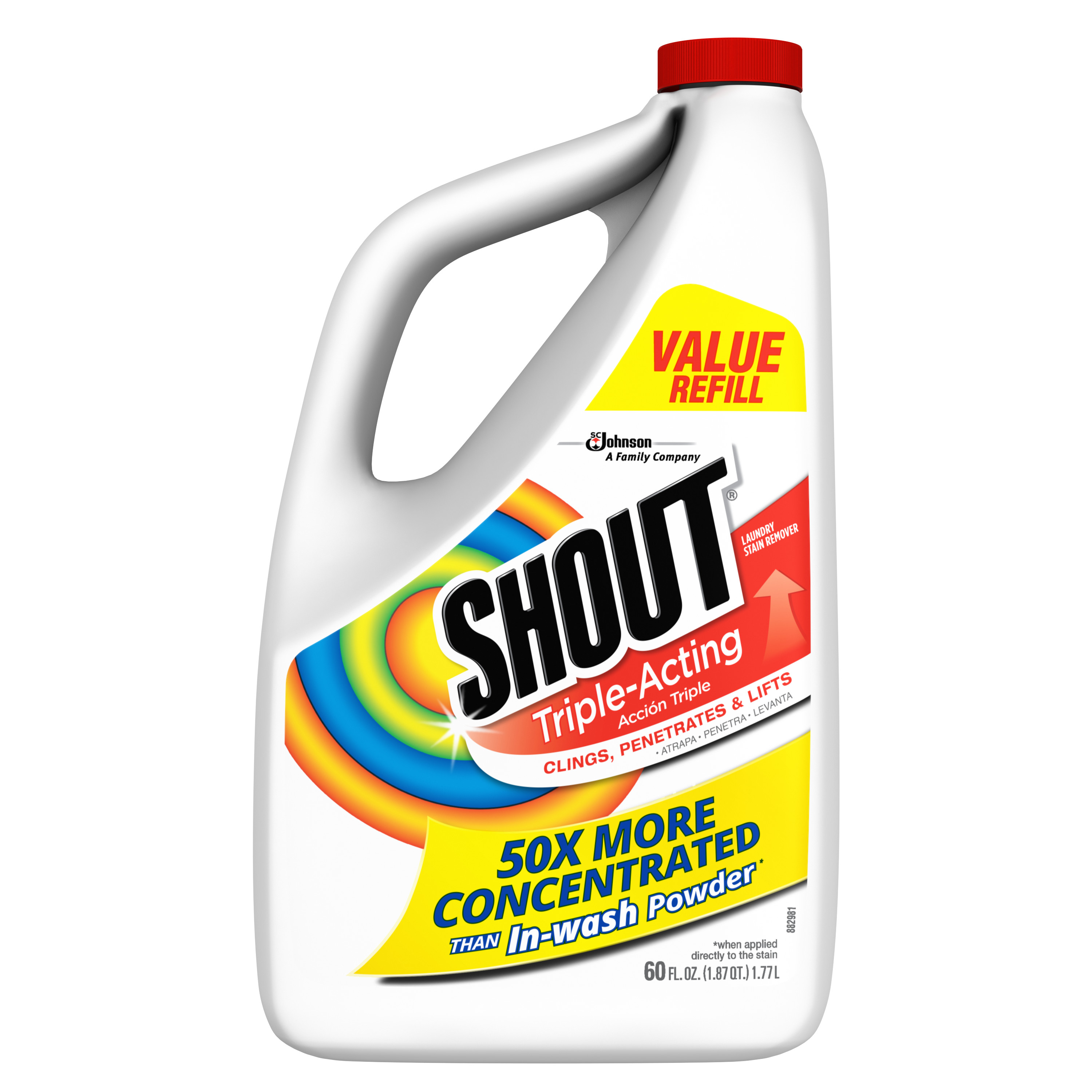 Shout Triple-Acting Liquid Refill 60 Fluid Ounces.