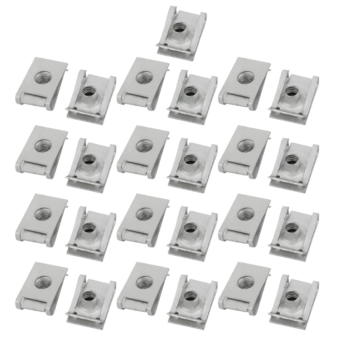 M6 24mmx16mm 65Mn Spring Steel White Zinc Plated Extruded U Nut Clip 25pcs - image 1 of 1