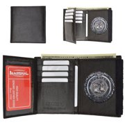 Mens Leather Badge Holder Wallet for ID Security Police Officer Fire